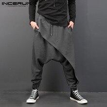 INCERUN размера плюс мужские повседневные Драповые шаровары с заниженным шаговым швом хип-хоп брюки мешковатые танцевальные штаны готический панк стиль шаровары мужские