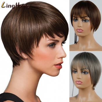 LINGHANG Short Red Gray Straight Wig Pixie Hair Cut Style Wigs For Women Synthetic High Temperature Fiber - discount item  47% OFF Synthetic Hair