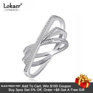 Lokaer Bohemia Design Trendy Geometric Shape Rings For Women Micro Pave Rhinestone Silver Color Finger Ring Jewelry LR17182