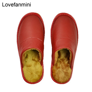 Image 5 - Genuine Cow Leather slippers couple indoor non slip men women home fashion casual shoes PVC soft soles winter 618