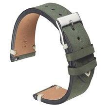 Матовый кожаный ремешок для часов 20 мм 21 зеленый темно коричневый