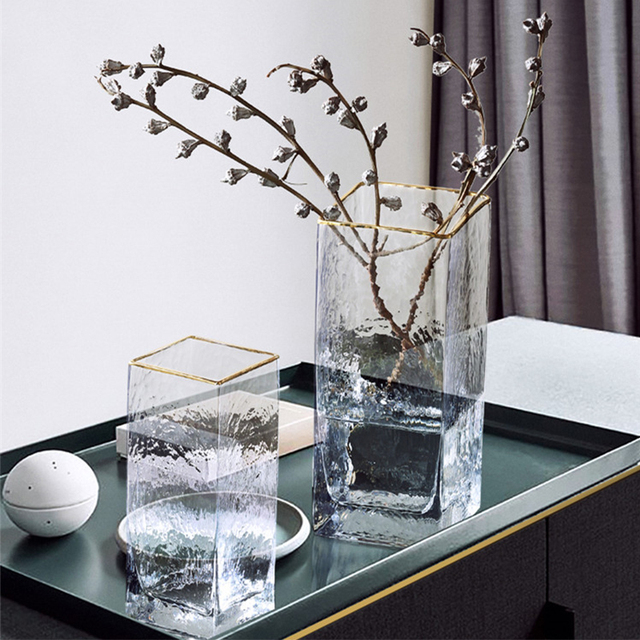 Modern Design Glass Vase Home Decoration Accessories Flower Vase With Golden Rim Desk Plants Cup Figurines Wholesale Ornaments 1