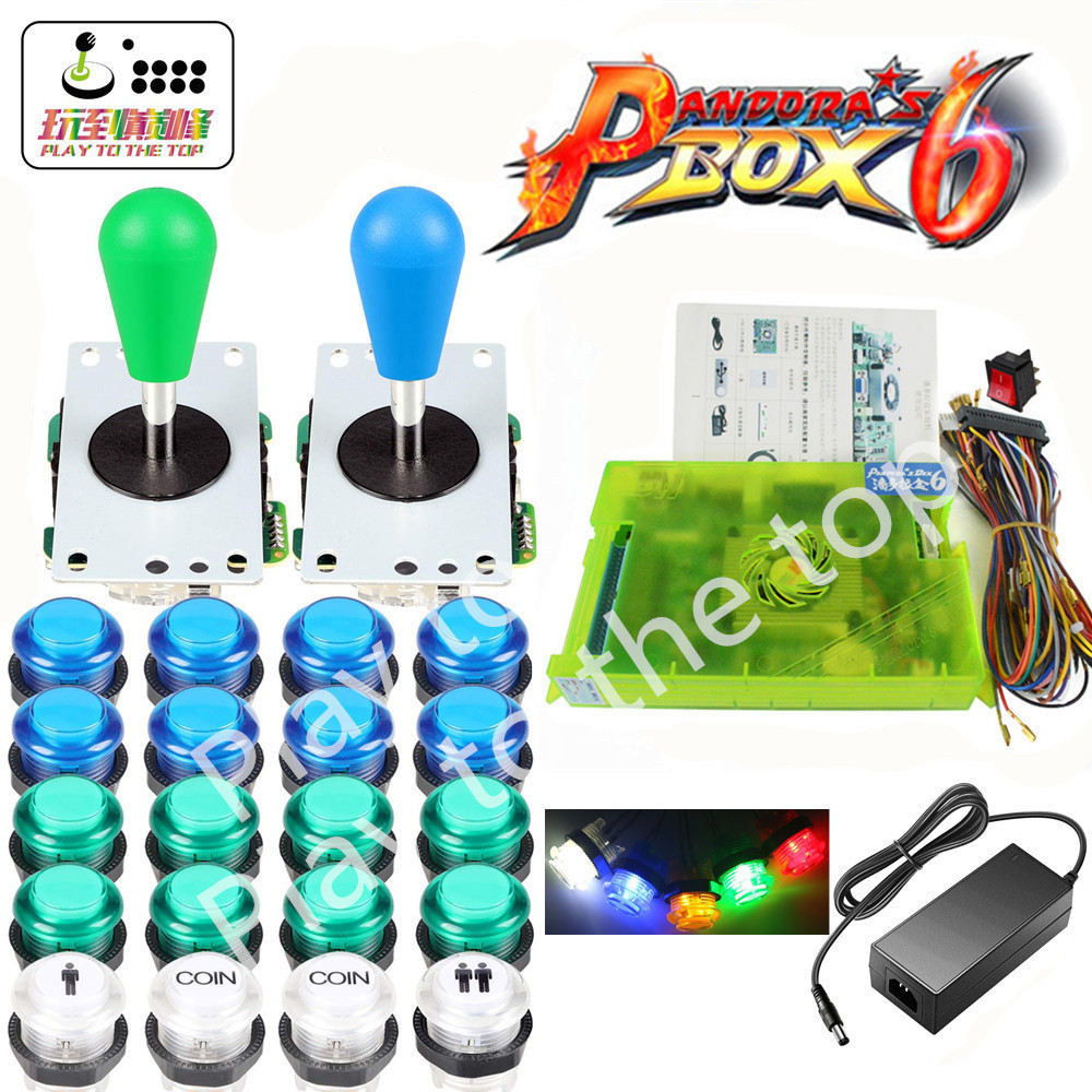 NEW <font><b>2</b></font> Player DIY Arcade Kit Pandora box 6 <font><b>1300</b></font> in <font><b>1</b></font> game board and 5Pin joystick American Style Push Button for Arcade Machine image