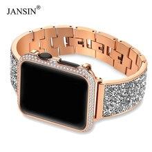 Luxo diamante caso + cinta para apple relógio banda 44mm 40mm 38mm 42mm capa iwatch série 6 se 5 4 3 pulseira de aço inoxidável feminino