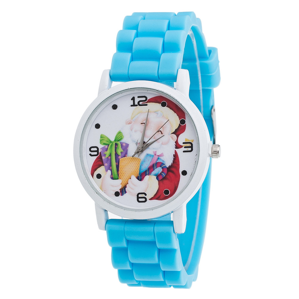 Cute Santa Claus Women Watches Round Dial Watches Slicone Strap Fashion Casual Watches Christmas Gifts