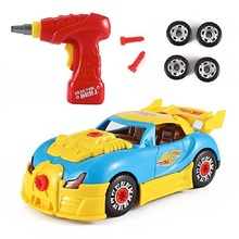 Racing Vehicle With Sound Light Building Children Toys Diy Screw Construction Tool Set Birthday Gift