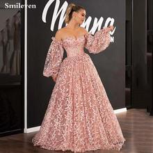 Розовые кружевные вечерние платья с 3d цветами smileven вырезом
