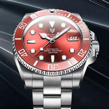 2021 Red Men Watches Top Brand Luxury Sapphire Watch Waterproof Automatic Mechanical Watch Mens Fashion Sport 316L Steel Clock 3