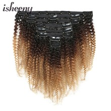 Hair-Extensions Clip-In Isheeny-Clip Curly Full-Head Afro Brazilian Frosted Remy Kinky