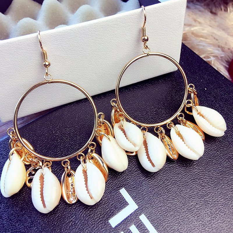 Shell-Earring Tassel Circle-Statement Exaggerated Beach-Jewelry Gold-Color Bohemian Natural
