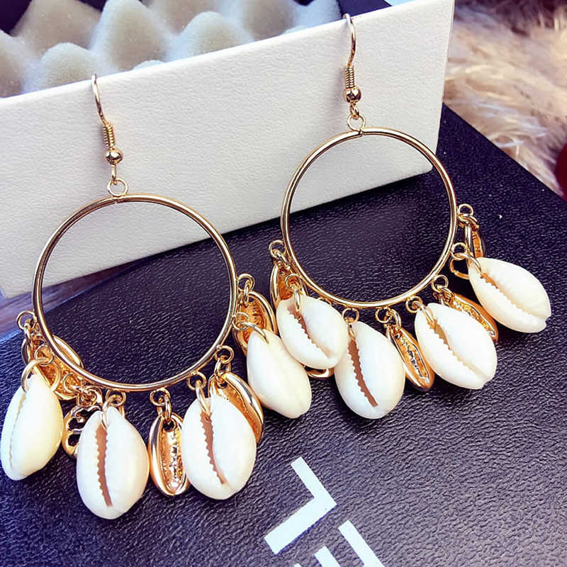 Natural Gold Color Metal Shell Earring for Women Circle Statement Drop Earrings Exaggerated Tassel Bohemian 2019 Beach Jewelry