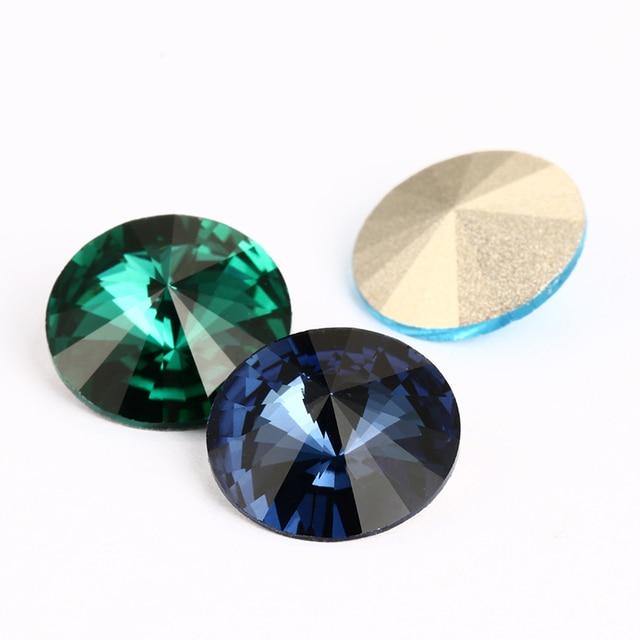 Astrobox ronde cristal verre strass opale pierre Rivoli pour vêtements bricolage pierres en vrac strass vert opale Gule sur vêtement