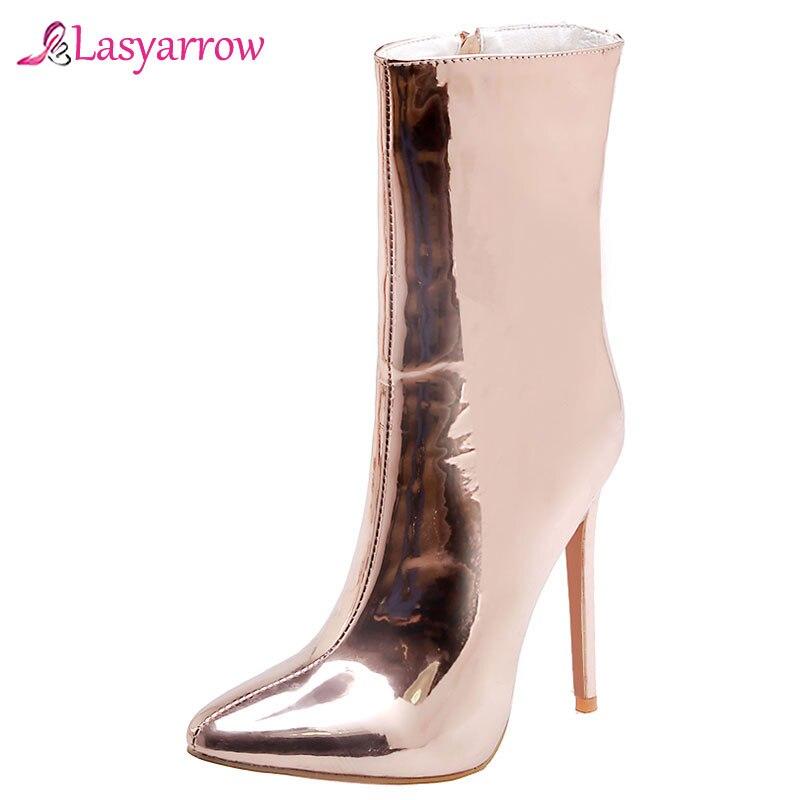 Lasyarrow femmes hiver mode miroir chaussures en argent fétiche bottines Sexy talon aiguille bottes brillant fête mariage femme chaussures