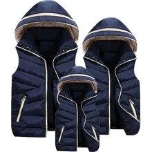 Ebeveyn çocuk eşleştirme kıyafetler kapşonlu çocuk yelek pamuk bebek kız erkek yelek çocuk ceketi çocuk giyim 100 180 için cm