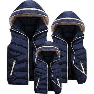 Image 1 - Eltern Kind Passenden Outfits Mit Kapuze Kind Weste Baumwolle Baby Mädchen Jungen Weste Kinder Jacke Kinder Oberbekleidung Für 100 180cm