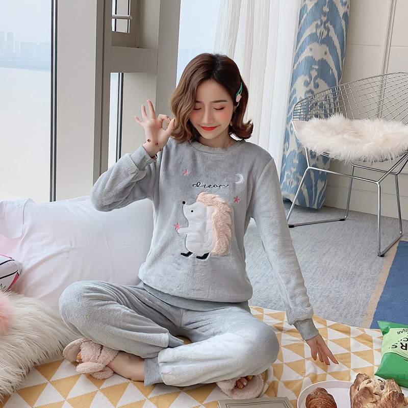 Winter Women   Pajamas     Set   Cartoon Warm Pyjama Women Nightwear Animal Sleepwear Full Sleeve 2PCS Pijama Mujer Night Clothes   Pajama