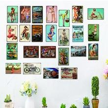 Pin UP Girl Retro Tin Signs Metal Plate For Wall Home Restaurant  Apartment Art Decor Cuadros sticker 30X20CM DU2618A