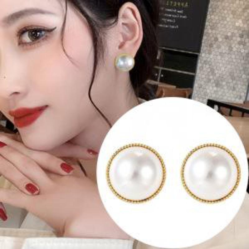 Charm Earrings S925 Korean Fashion New Earrings Phnom Penh Pearl Simple Temperament Round Earrings Women Wholesale|Stud Earrings|   - AliExpress