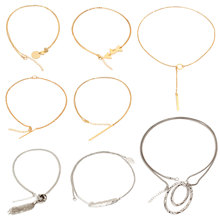 8 Pcs/ Set Classic Metal Stick Circle Tassel Pendant Necklace Gold Silver Long Sweater Chain Collares Jewelry