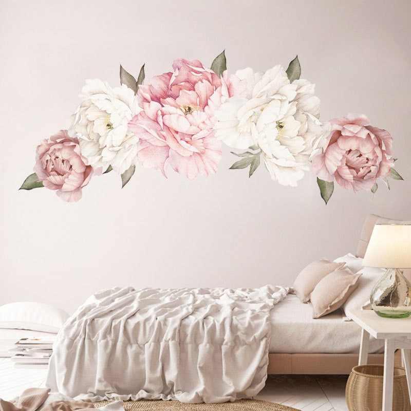 Papel tapiz autoadhesivo grande peonía pared calcomanía Floral pared calcomanías acuarela papel tapiz de peonía Mural pelar y pegar calcomanías de pared