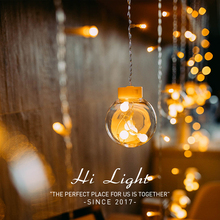 Tira de luces LED de cobre para cortina de estrellas, iluminación de hadas para boda al aire libre, decoración navideña, enchufe europeo de 220v