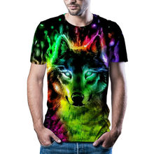 Funny tiger and wolf design men's T-shirt Chinese animation 3D pattern short sleeve 2021
