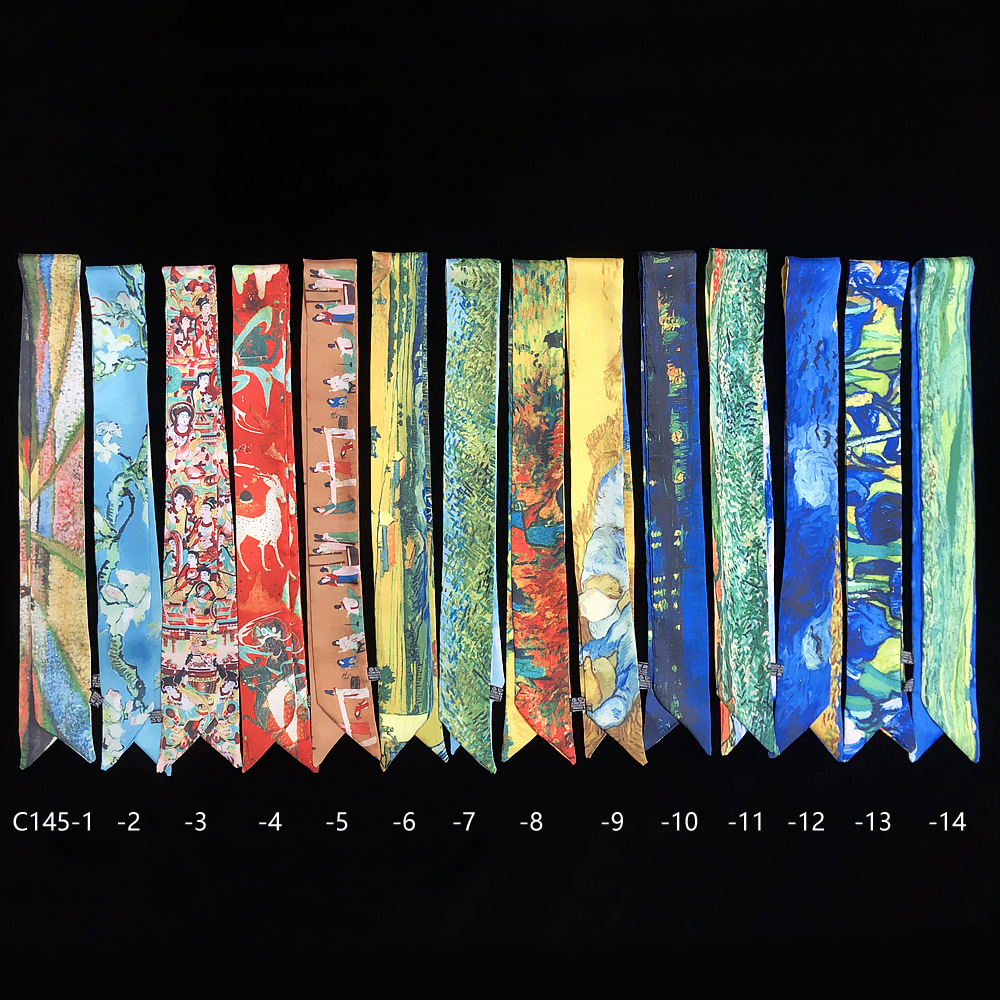 95cm*5cm Small Long Van Gogh Printed Woman Silk Scarf 2020 Design Big Brand Scarf Skinny Scarf Bag Ribbons Cloth Accessories