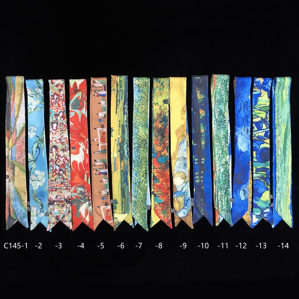 95cm*5cm Small Long Van Gogh Printed Woman Silk Scarf 2020 Design Big Brand Scarf Skinny Scarf Bag Ribbons Cloth Accessories