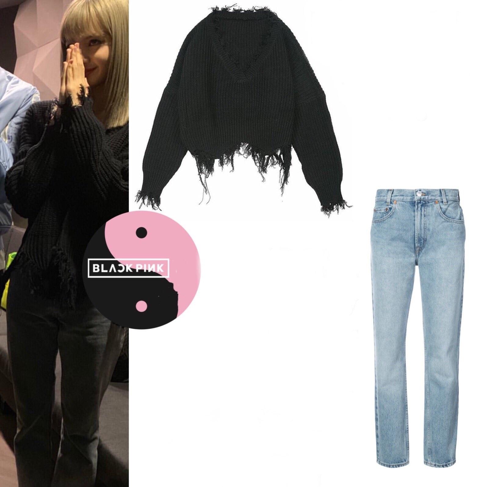 Kpop Blackpink Jennie Same Korean Black V-neck Pullover Short Knitted Sweater And Light Blue Straight Jeans Women Two-piece Set