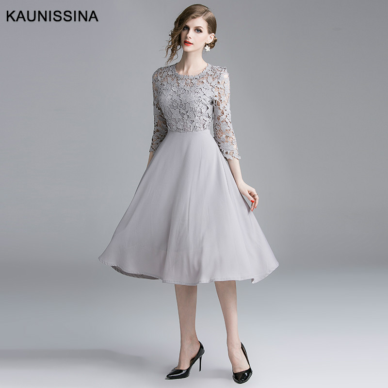 KAUNISSINA Luxuxy Lace   Cocktail     Dresses   3/4 Sleeves O-neck Solid Party   Dress   Elegant Formal Occasion Gowns Homecoming   Dress