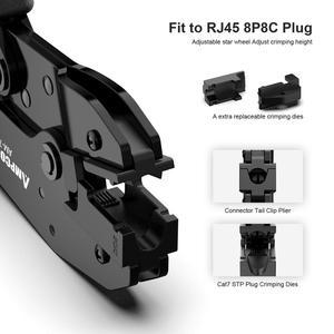Image 2 - Щипцы для обжима AMPCOM, Профессиональные Сетевые Обжимные Щипцы для CAT7 CAT6A STP, модульные штекеры с разъемом RJ45 8P8C