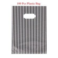 100 Sacos De Plástico Transportadora pçs/lote White & Black Stripe Design Boutique Pacote Para Presente De Casamento Festival 20x14.5cm