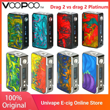 Clearence VOOPOO Drag 2 Platinum 177W skrzynka TC MOD i VOOPOO przeciągnij 2 skrzynka TC MOD do elektronicznego papierosa Vape Box Mod VS Argus GT Kit tanie tanio 18650 Brak Innych VOOPOO Drag 2 Platinum Box Mod 51 x 26 5 x 88 3mm 2 x 18650 batteries (NOT included) 5-177W 0 05-5 0ohm