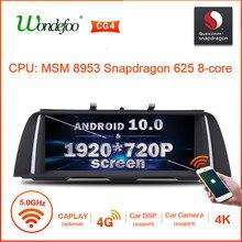 Snapdragon android 10 1920*720p carro gps rádio para bmw série 5 520i f10 f11 2010 2011-2016 vídeo multimídia nenhum 2 din dvd player