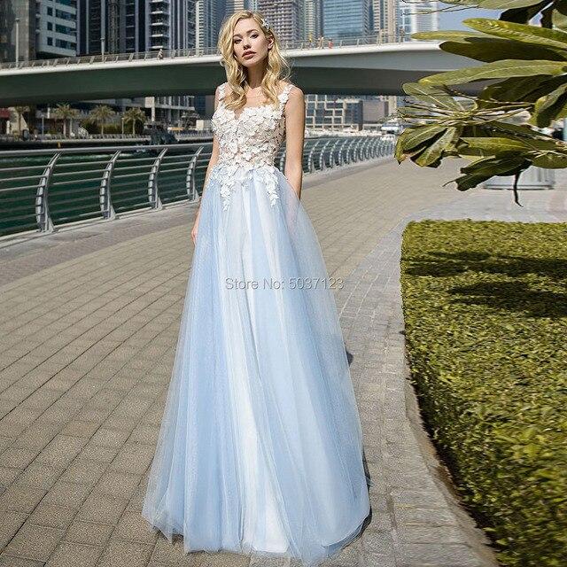 אשליה סקופ קו אור כחול חתונת שמלות עם שנהב אפליקציות כפתורי גב אורך כלה שמלות Vestido Noiva Boho