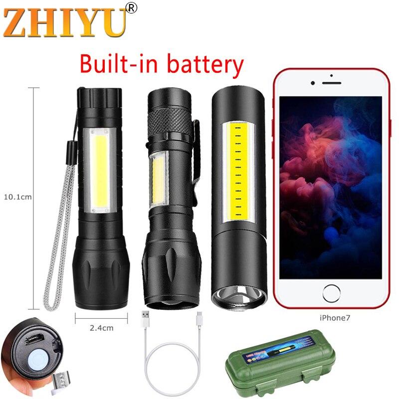 Портативный мини-фонарик с 2 светодиодами, зарядка по USB, 3 режима работы, фонафонарь для рыбалки, кемпинга