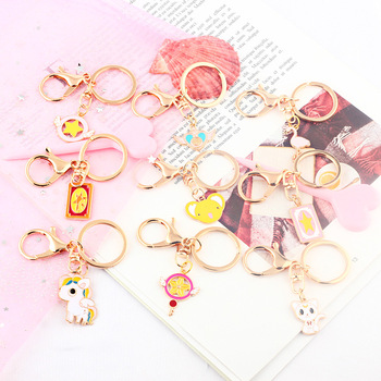 New Personality Cute Pink Version Of Girls Key Chains Creative Girls Love Small Key Chain Boudoir Small Gift Key Ring image