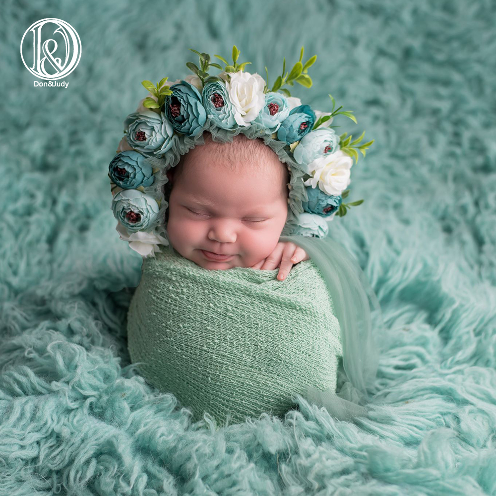 Don&Judy Newborn & Sitter Size Floral Bonnet Baby Girl Hat For Photography Newborn Garden Flower Bonnet For Photo Shoot Props