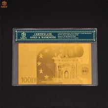 Papel de dinero de 100 Euro de papel de hoja de oro coleccionable, colección de billetes de oro de 24k con marco de protección COA