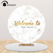 Allenjoy marble round backdrop cover welcome to baby shower wedding birthday party customize background banner photocall allenjoy background photography wildlife jungle animal forest safari party boy kids birthday round backdrop cover photocall
