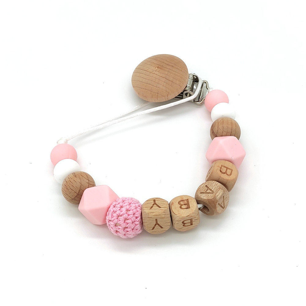 DIY Silicone Pacifier Chain Personalized Name Handmade BPA Free Safe Beads Nature Wood Baby Teether Dummy Clips Holder