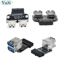 Yuxi 20pin para dupla usb3.0 adaptador conversor desktop placa mãe 19/20p cabeçalho para 2 portas usb 3.0 um conector fêmea leitor de cartão