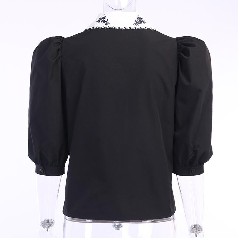 Women Vintage Blouse Shirt 2020 Cotton Floral Embroidery Patchwork Princess Shoulder Short Puff Sleeve Slim Elegant Summer Tops