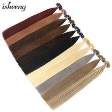 Human-Hair-Extensions Fusion Isheeny Keratin U-Tip Remy-Nail 50-Strands Pre-Bonded Real