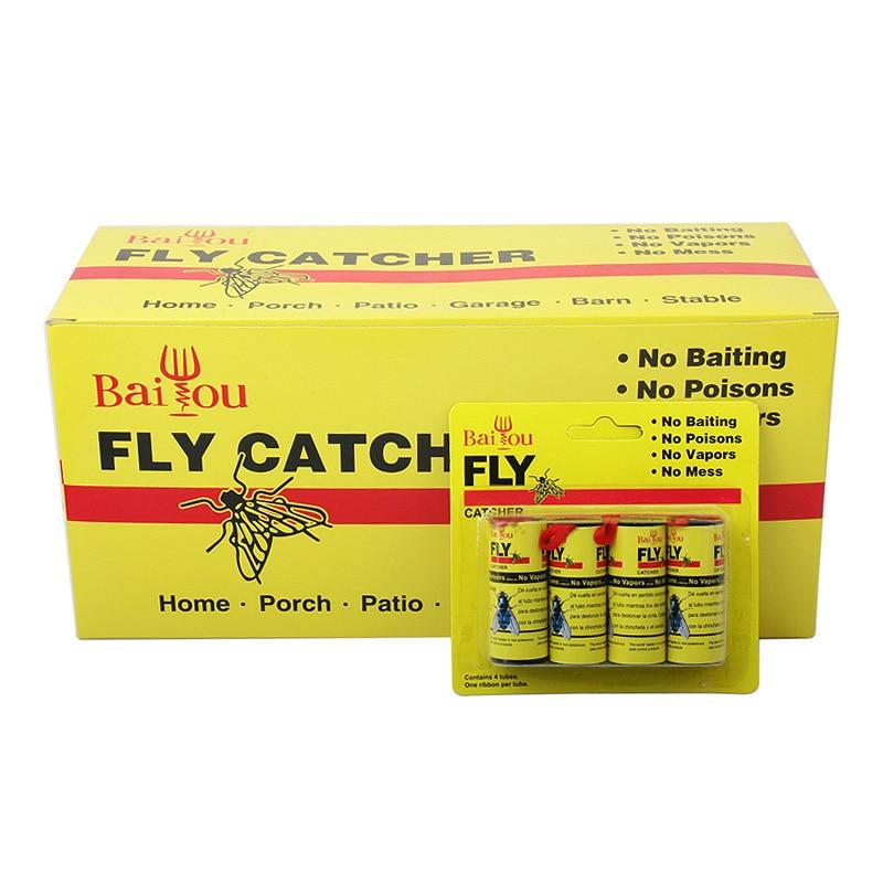 4/8/12/16 adet Fly yapışkan kağıt şerit güçlü tutkal uçan böcek böcek sivrisinek Catcher rulo bant BOM666