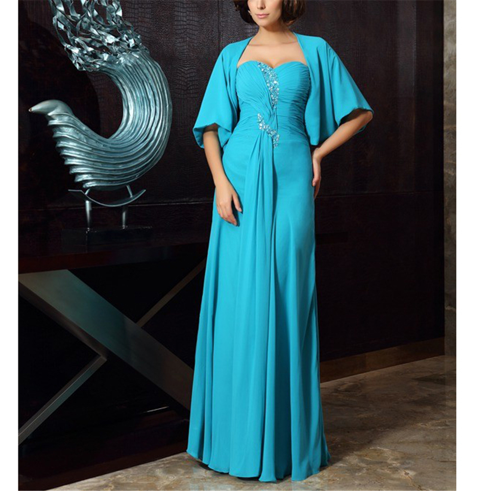 Exqusite Green Chiffon Beading Women's Dresses A-line Vintages Half Sleeves Beading Ruffles Custom-Made Mother Of The Bride