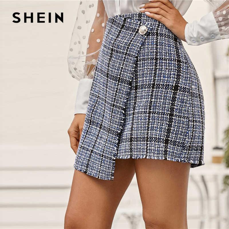 Shein Kẻ Sọc Đơn Nút Bọc Vải Tuýt Váy Nữ Thu Đông Giữa Eo Công Sở Thanh Lịch Nữ Một Dòng Mini