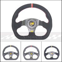 OMP Car Sport Steering Wheel Racing Type High Quality Universal 13inches 320MM Aluminum+suede PVC Yellow Red
