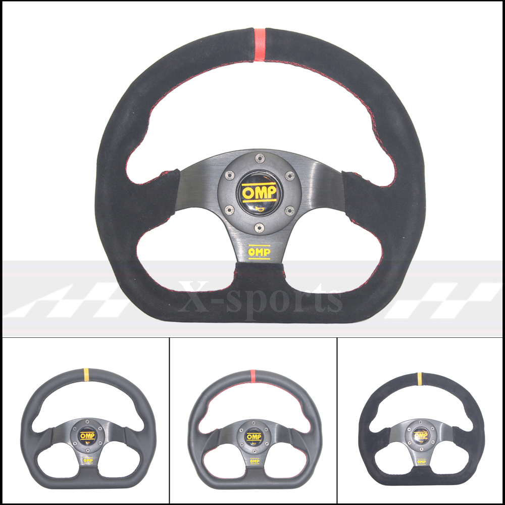 OMP voiture Sport volant de course Type haute qualité universel 13 pouces 320MM aluminium + daim PVC jaune rouge