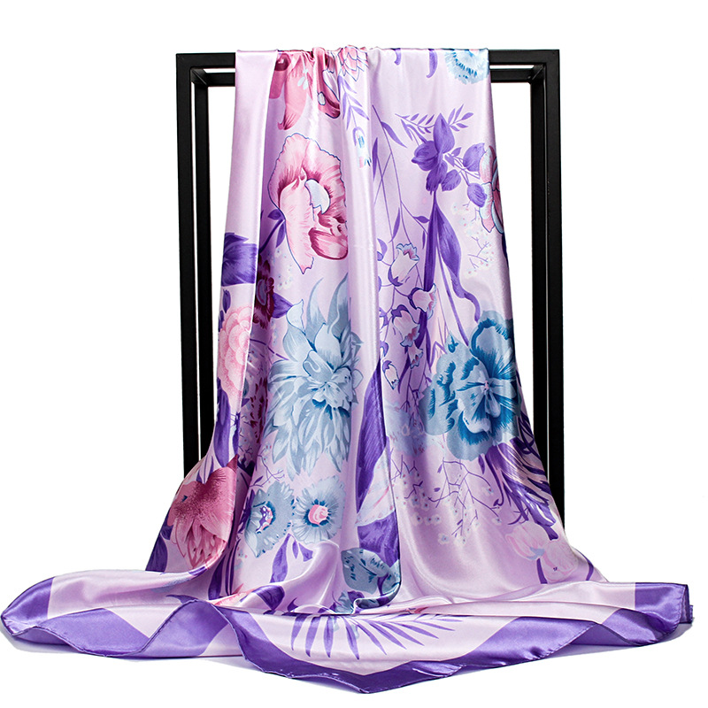 Fashion Floral Print Hijab Scarf For Women Square Shawls Silk Satin Hair Scarfs Female 90*90cm Headband Neck Scarves For Ladies
